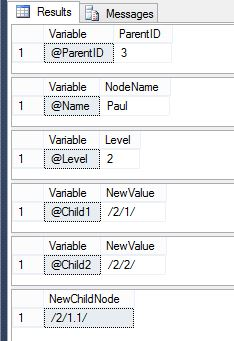 Adding a leaf node using a hierarchyid data type in SQL Server - Step2