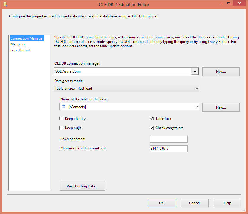 Loading data to and from SQL Azure -Step3