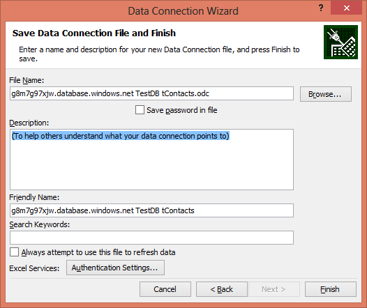 SQL Azure and Excel Data Connection -Step4