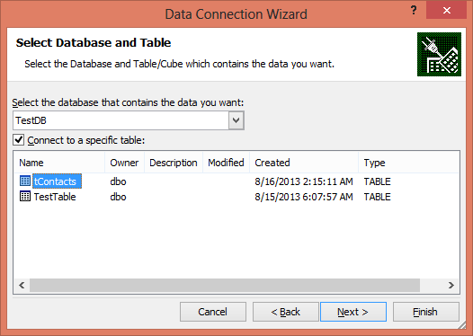SQL Azure and Excel Data Connection -Step7