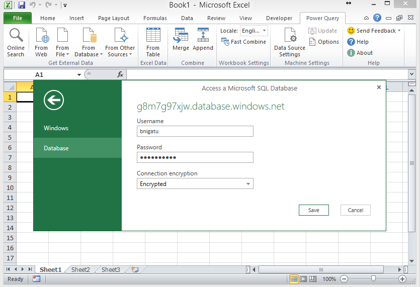 SQL Azure and Excel Power Query -Step5