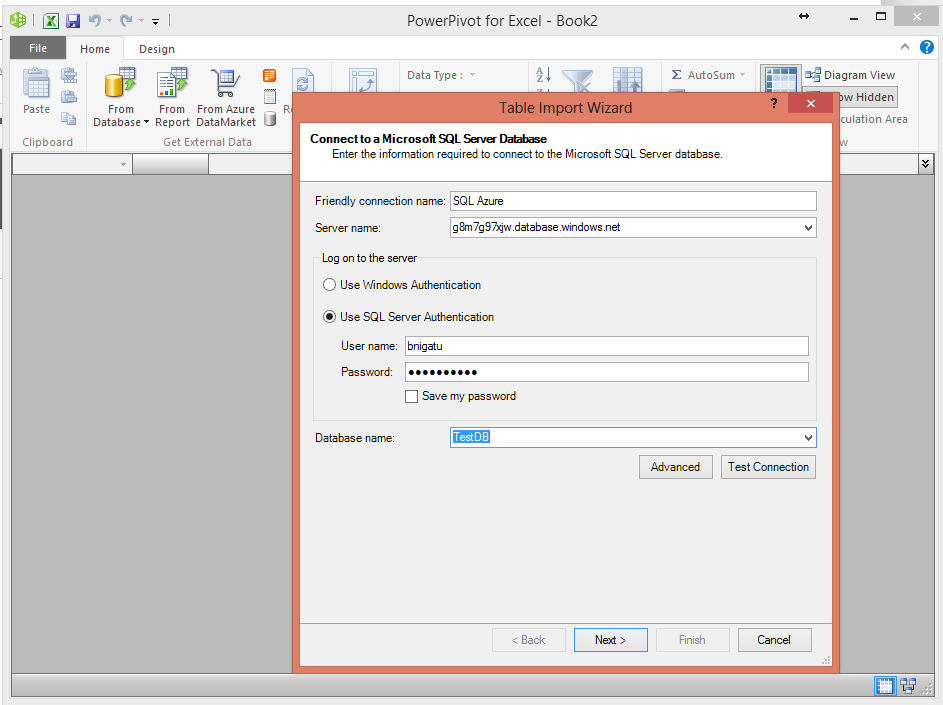 SQL Azure and PowerPivot -Step3