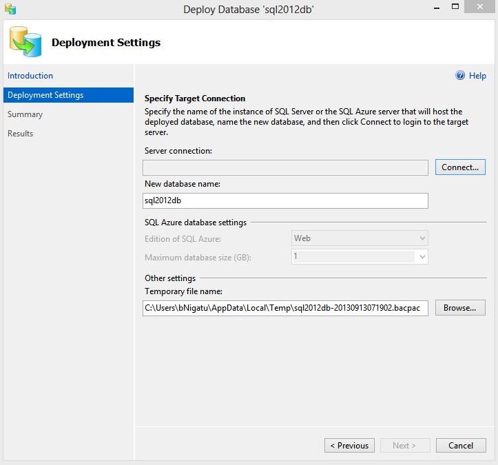 Deploy SQL Server database to SQL Azure - Step1