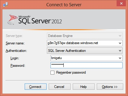 Deploy SQL Server database to SQL Azure - Step2