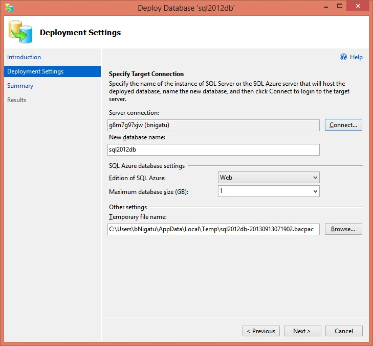 Deploy SQL Server database to SQL Azure - Step3