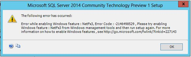 Error while enabling Windows feture NetFx3 -2146498529 - Step1