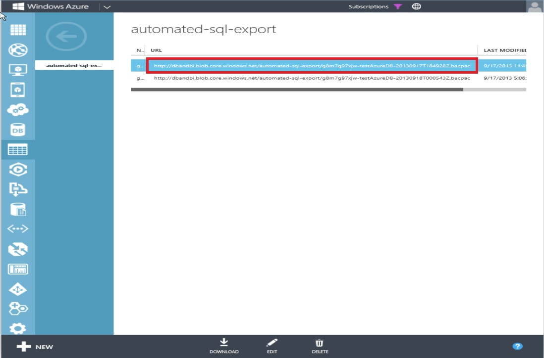 How to Restore Windows Azure SQL Databse Step 3