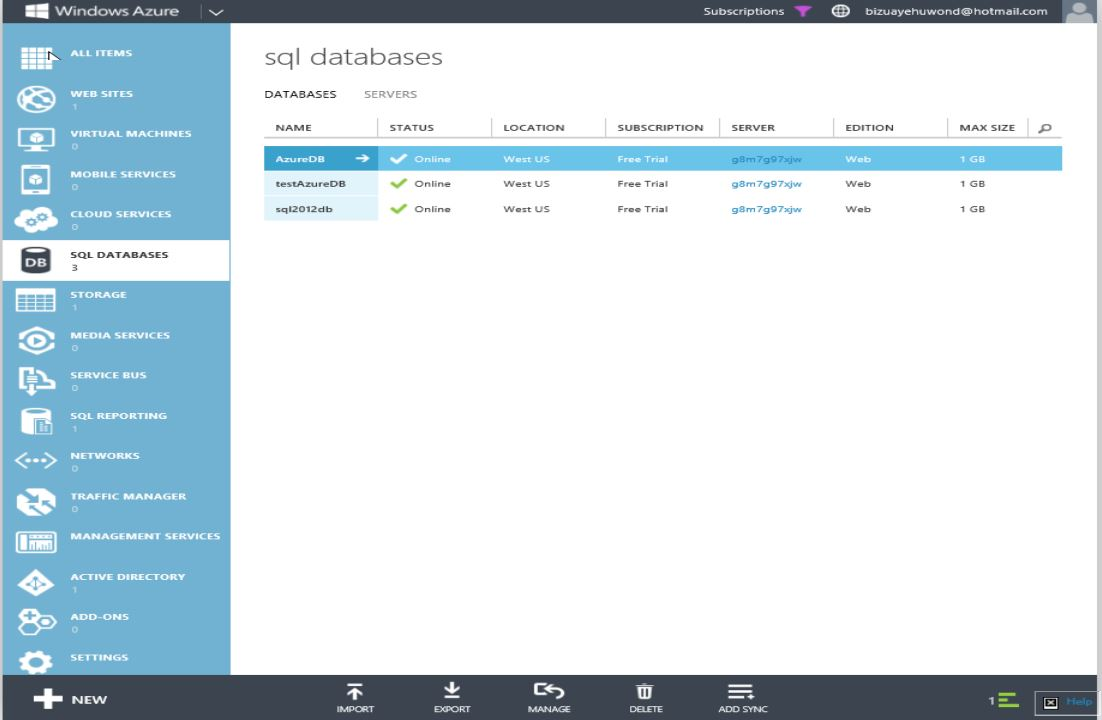 How to Restore Windows Azure SQL Databse Step 4