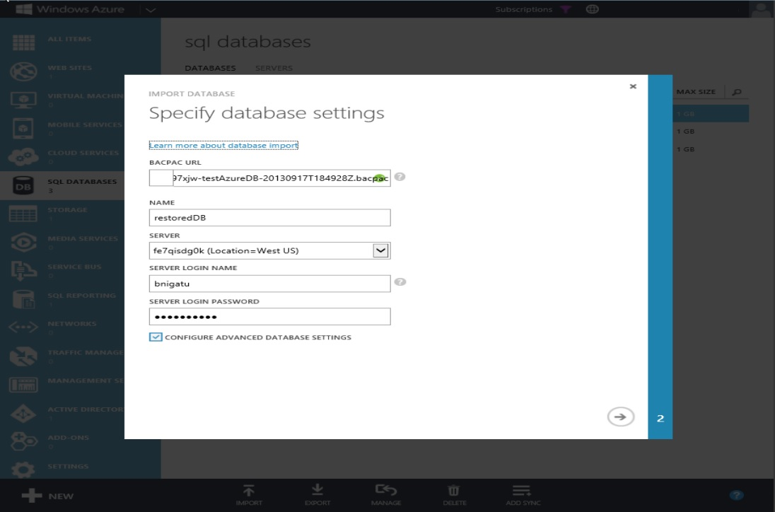 How to Restore Windows Azure SQL Databse Step 5
