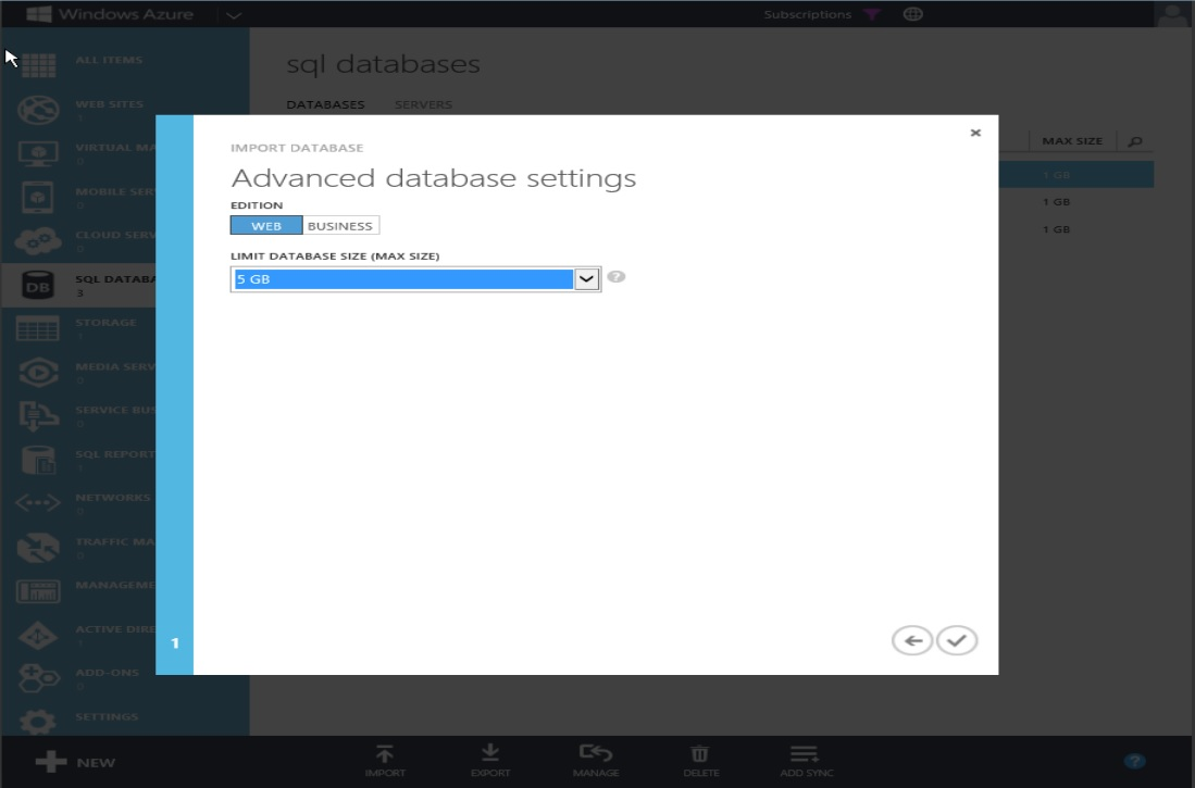 How to Restore Windows Azure SQL Databse Step 6