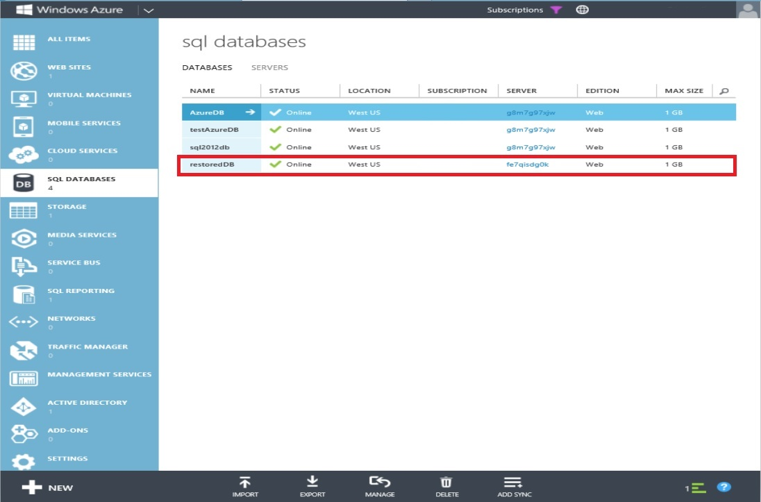 How to Restore Windows Azure SQL Databse Step 7