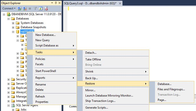 Restore SQL Server 2014 database from Windows Azure storage to Windows Azure VM Step5