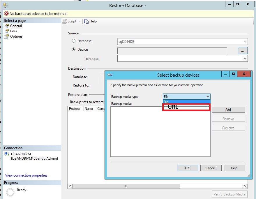 Restore SQL Server 2014 database from Windows Azure storage to Windows Azure VM Step6