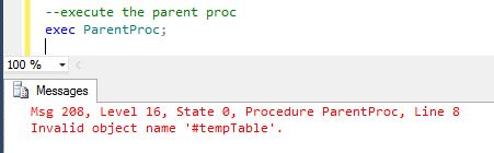 temporary table in stored procedure