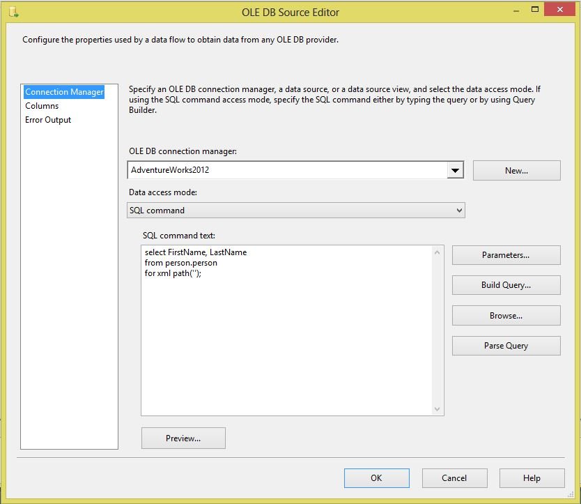 export xml file using ssis