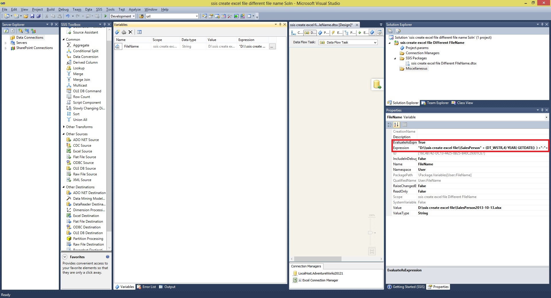 ssis create excel file Different FIleName Step2