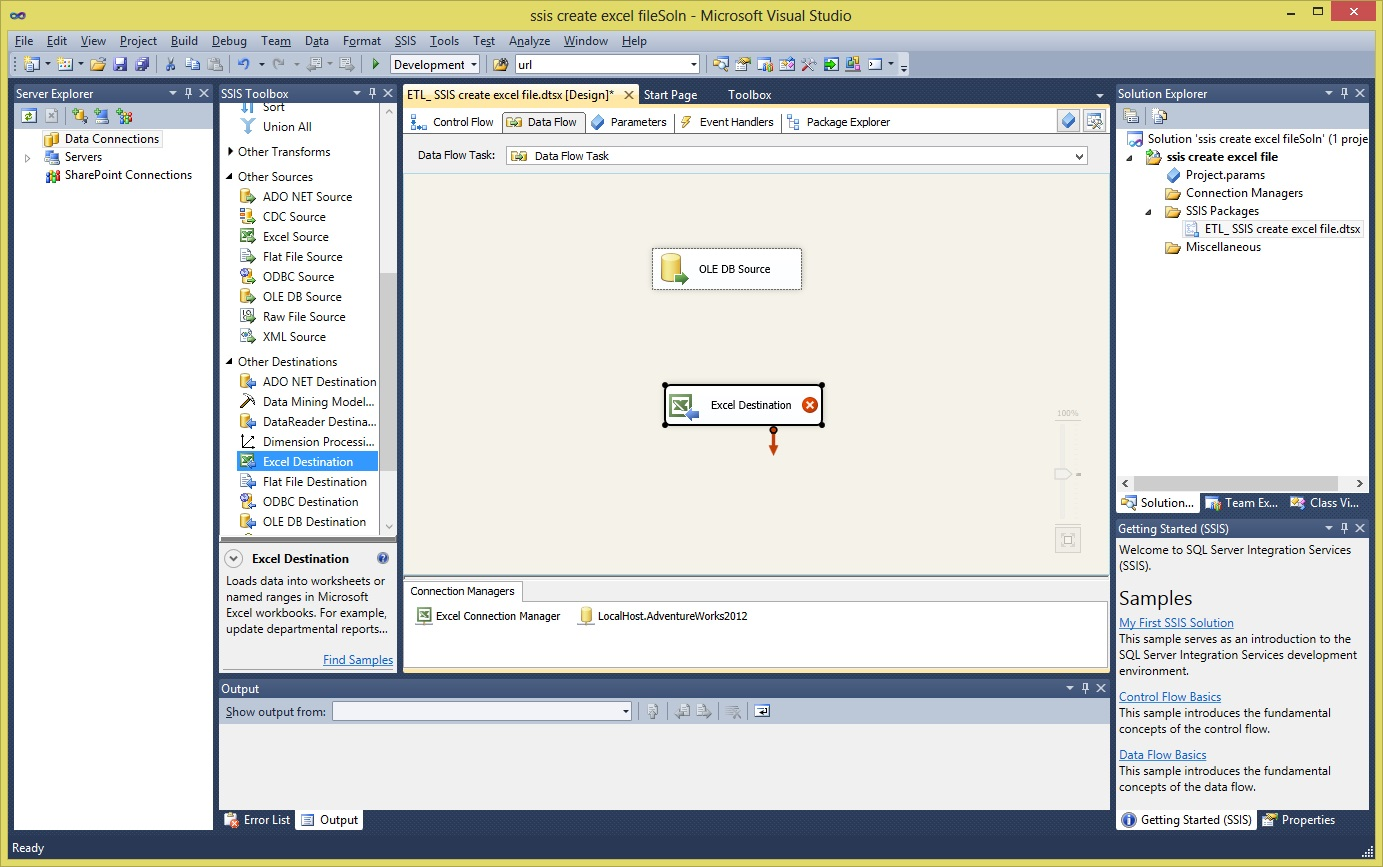 ssis create excel file Step12