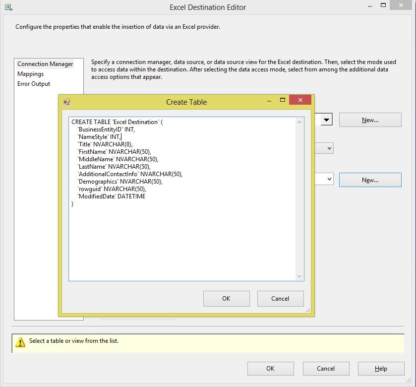 ssis create excel file Step14