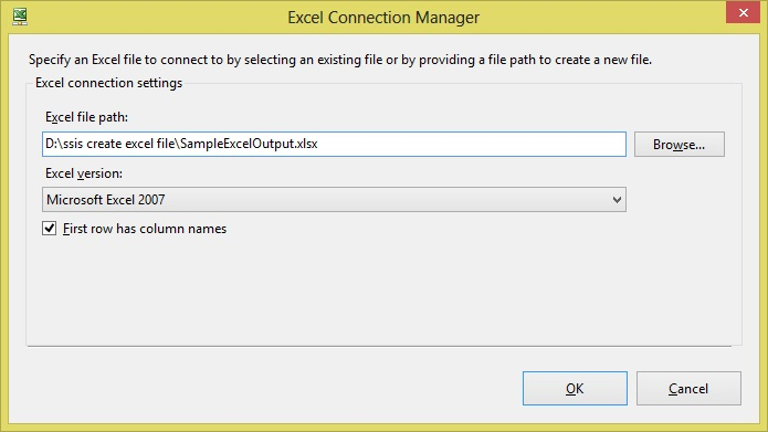 ssis create excel file Step6