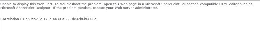 Unable to display this Web Part