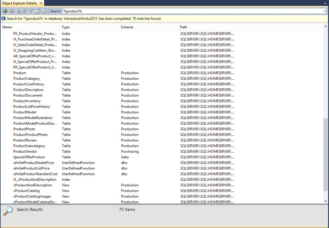 search objects in sql server