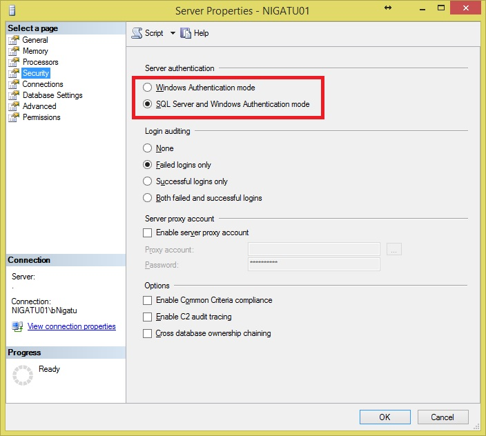 SQL Server Authentication Mode 2