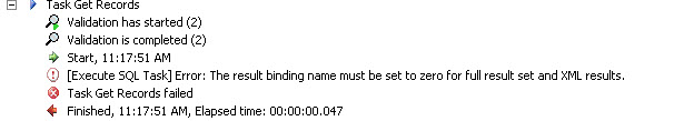 The result binding name must be set to zero for full result set and XML results 1